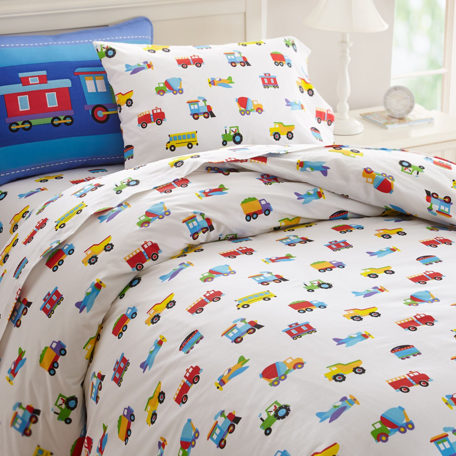 Trucks Airplanes Trains Duvet Cover Twin Or Full Transportation By Olive Kids Single Double Bettdeckenbezug Jungen Bettwäsche Bettwäsche Kinder