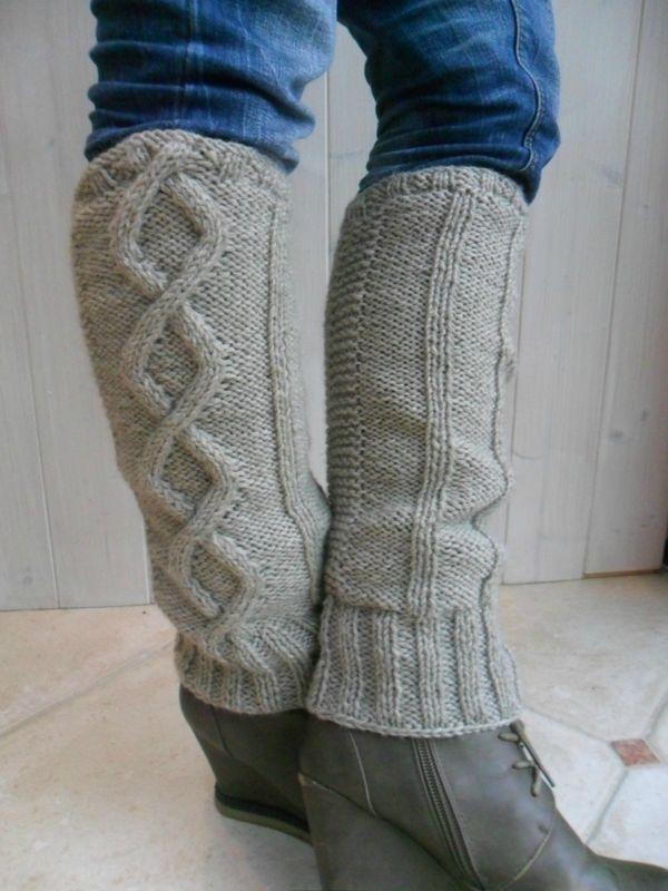 Femmes hiver chaud Jambières Câble Tricot Gants Crochet Chaussettes Leggings