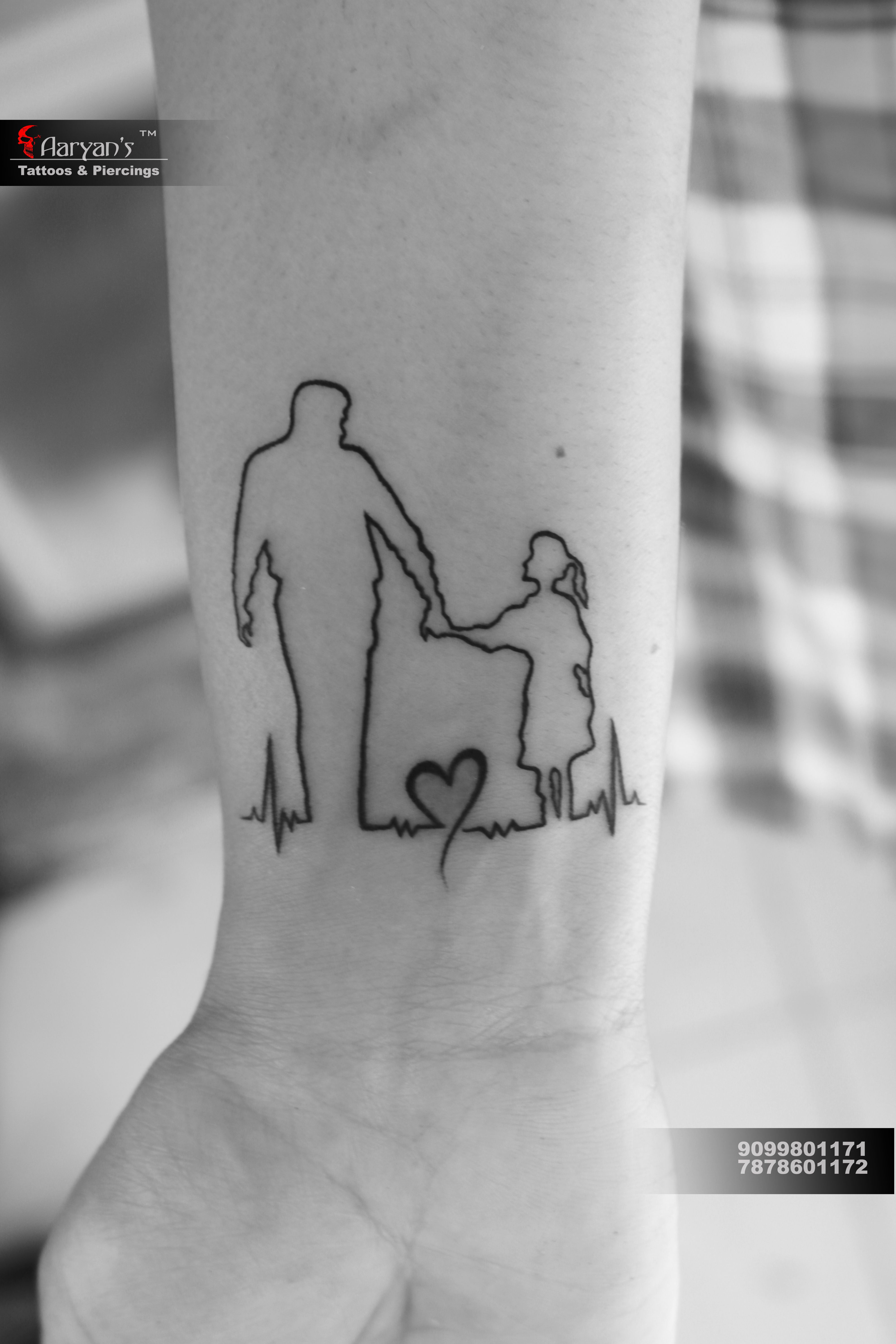 Dad Silhouette Best Bounding Daughter With Dad Tattoo At Aaryans Ahmedabad Who Want To Get T Tattoos For Daughters Father Tattoos Family Tattoo Designs