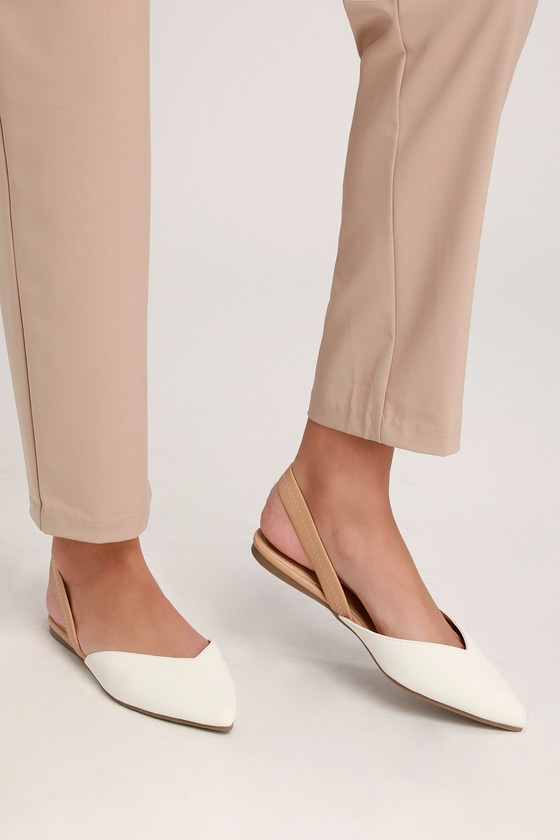 Mae White and Nude Pointed-Toe Slingback Flats