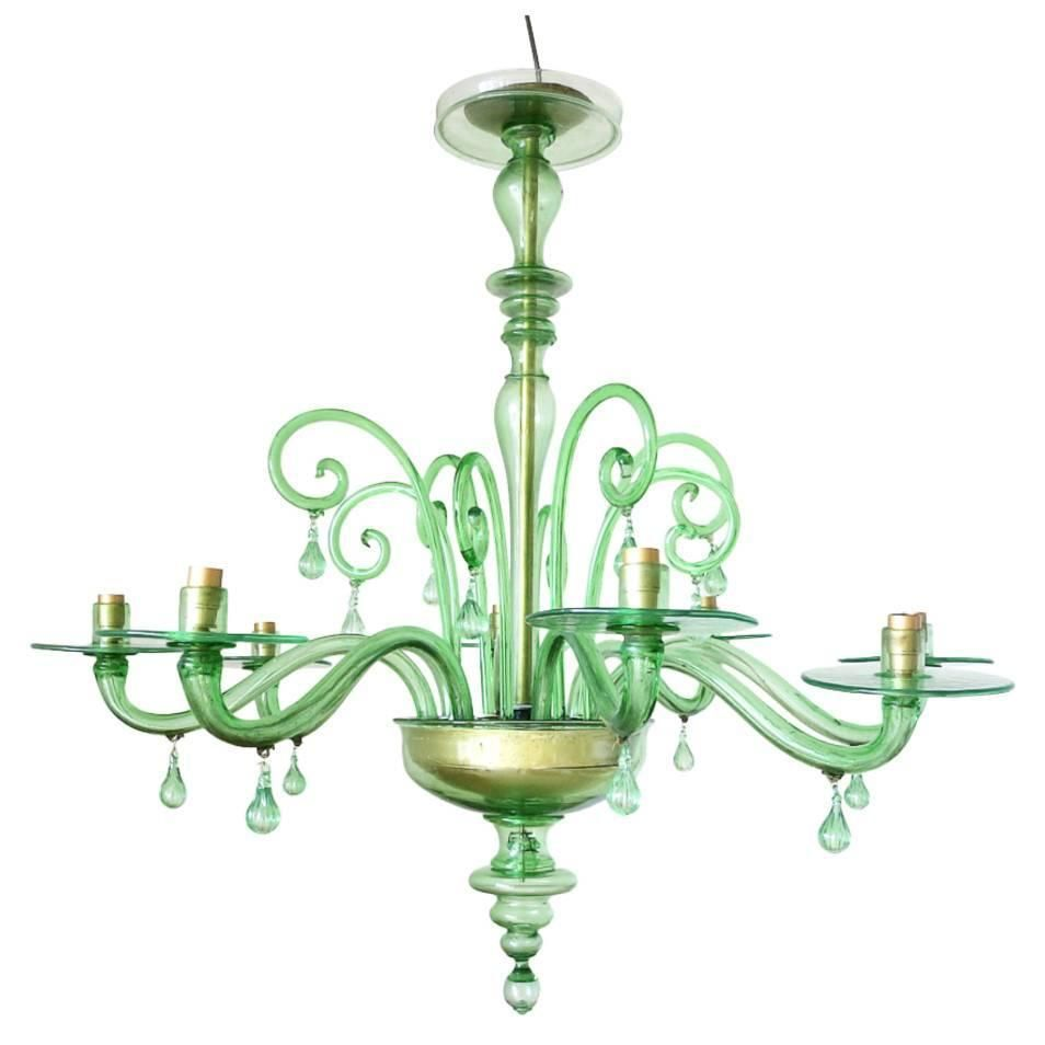 Emerald green murano glass chandelier by venini murano glass emerald green murano glass chandelier by venini from a unique collection of antique and modern arubaitofo Choice Image