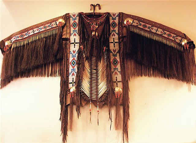 Hand crafted buckskin Plains Indian style ceremonial shirt from Spirit of Santa Fe
