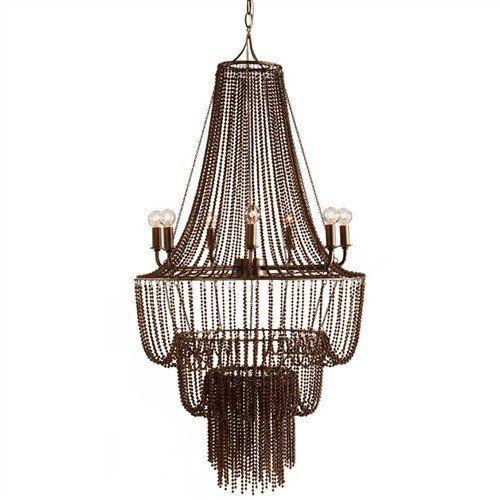 "Stunning dark antique brass, seven light chandelier. 40W max bulb Dimensions: 46""H x 22"" Dia."