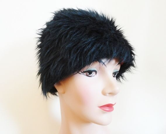 Funky Cool Vintage 1960s Black Faux Fur Hair Hat W Psychedelic Lining From Vfv On Ruby Lane Offers Accepted Mail To Vani Wig Hat Funky Brown Hair Colors