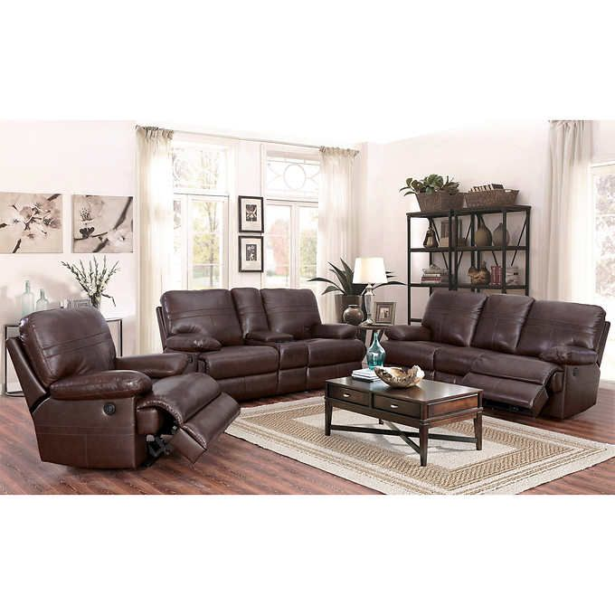 fairfax 3 piece top grain leather reclining living room set furniture sets pictures catterton power