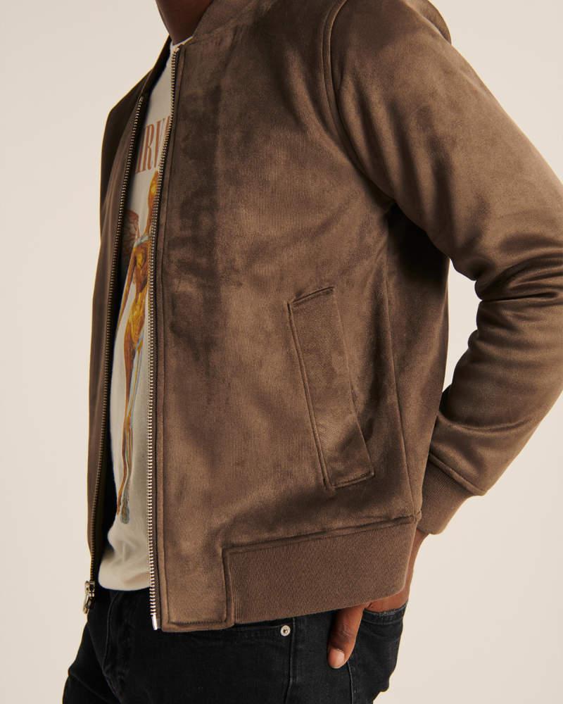 Men S Vegan Suede Bomber Men S Coats Jackets Abercrombie Com [ 1000 x 800 Pixel ]