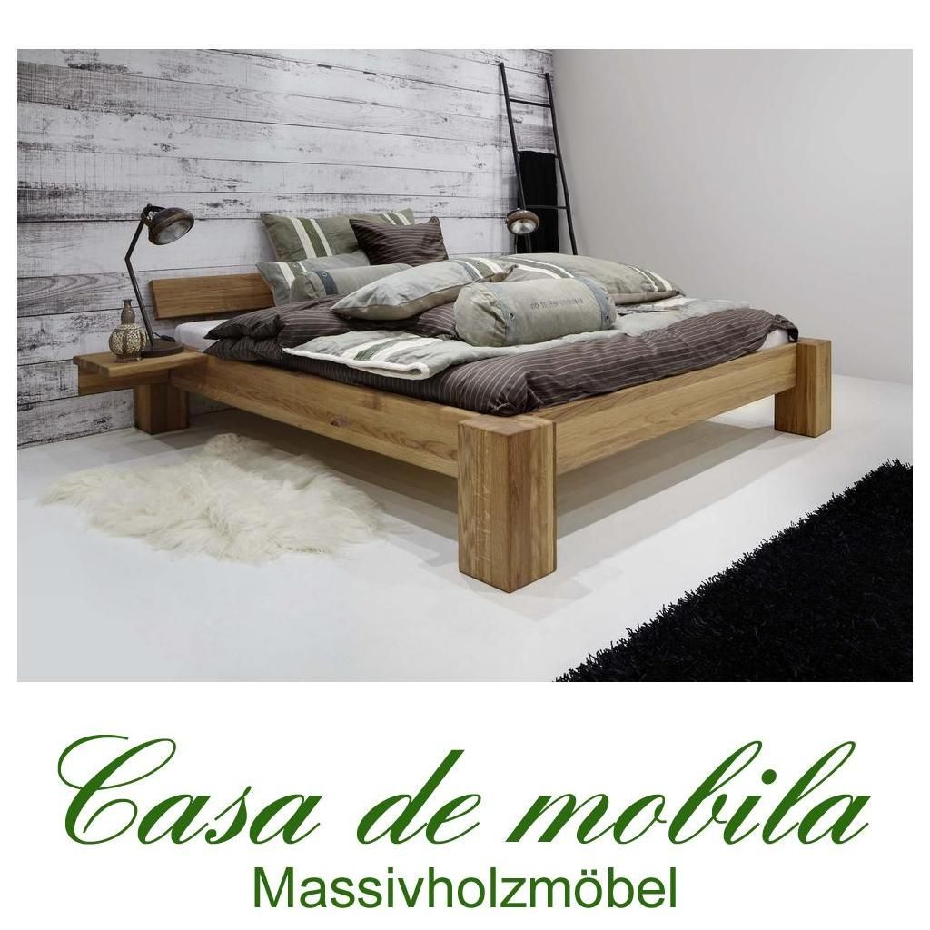 Massivholz Doppelbett 140x200 Holzbett Bett Eiche Massiv Geolt