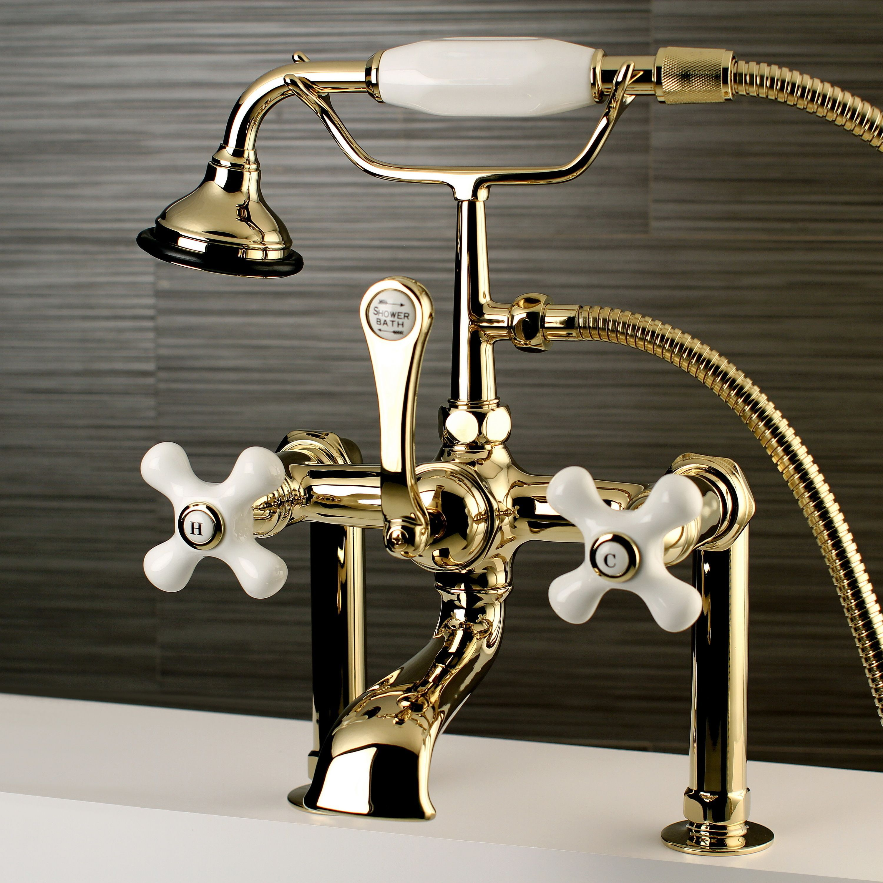 Bathroom faucet deck mounted brass bath spout modern bathroom faucets - Deck Mount Polished Brass Clawfoot Tub Faucet With Hand Shower By Kingston Brass