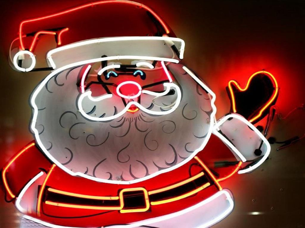 christmas-wallpaper-santa-claus-neon-lights.jpg (1024×768) | Neon ...