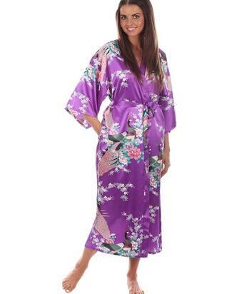 206cffc5b86 Hot Sale Blue Female Silk Rayon Robes Gown Kimono Yukata Chinese Women Sexy  Lingerie Sleepwear Plus Size S M L XL XXL XXXL A-046