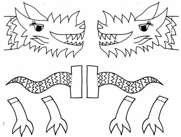 Chinese New Year crafts for kids printable pages dragon