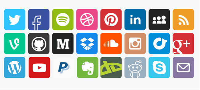 Social media vector icons squared (PSD) - white background