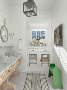 Shabby chic bathroom. Shabby chic bathroom with custom whitewashed white oak vanity and marble. #Bathroom #Shabbychic Amy Studebaker Design