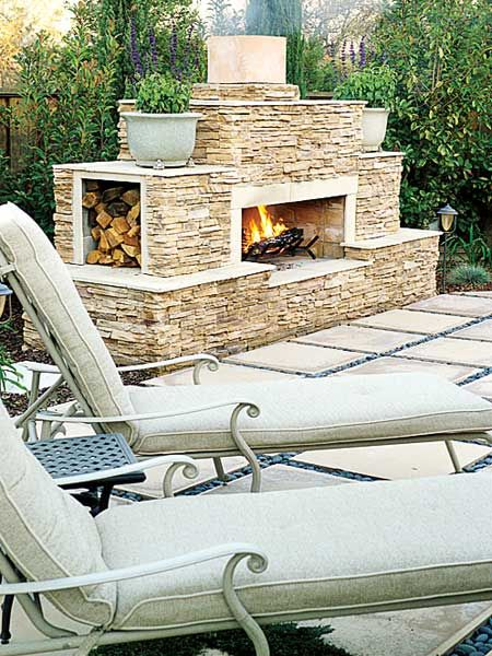 Side pockets for wood, low Outdoor Fireplace Pinterest Folsom