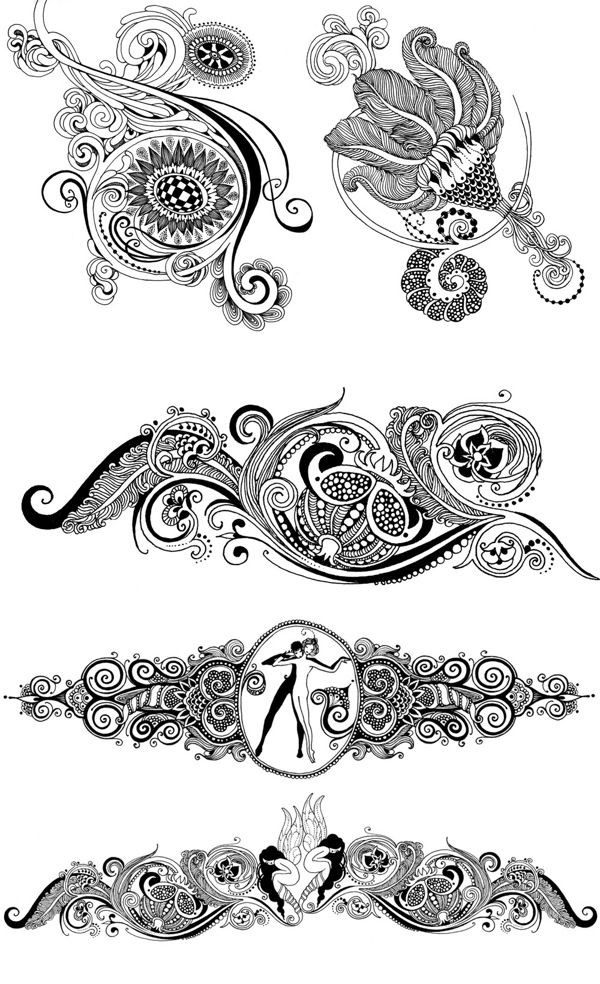 Ornament and vignettes. Part 2 by Sveta Dorosheva, via Behance