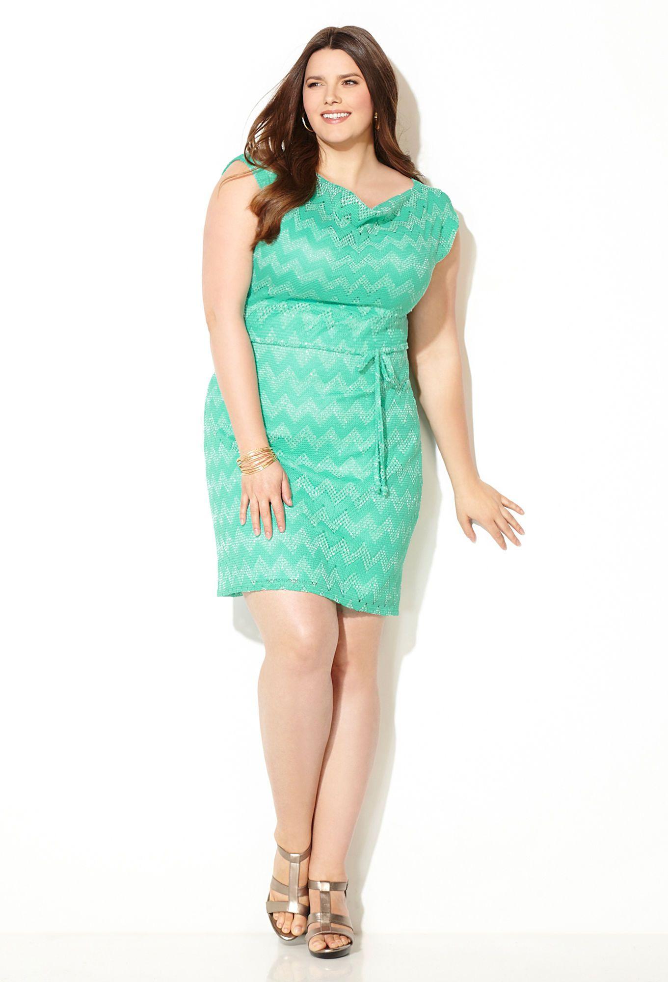 Mint Chevron Crochet Dress-Plus Size Dress-Avenue | Sarah Slick ...