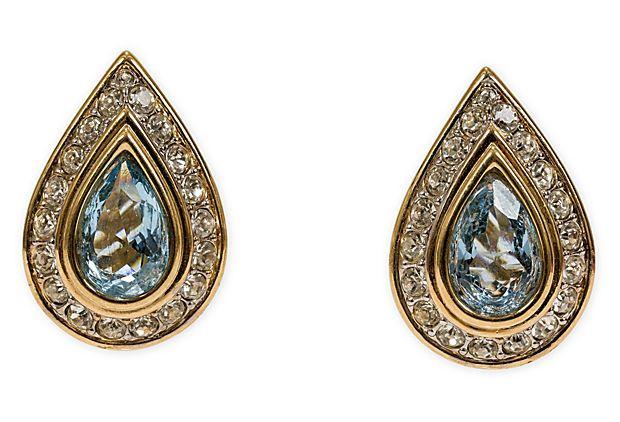 Nina Ricci Tear Drop Rhinestone Earrings on OneKingsLane.com