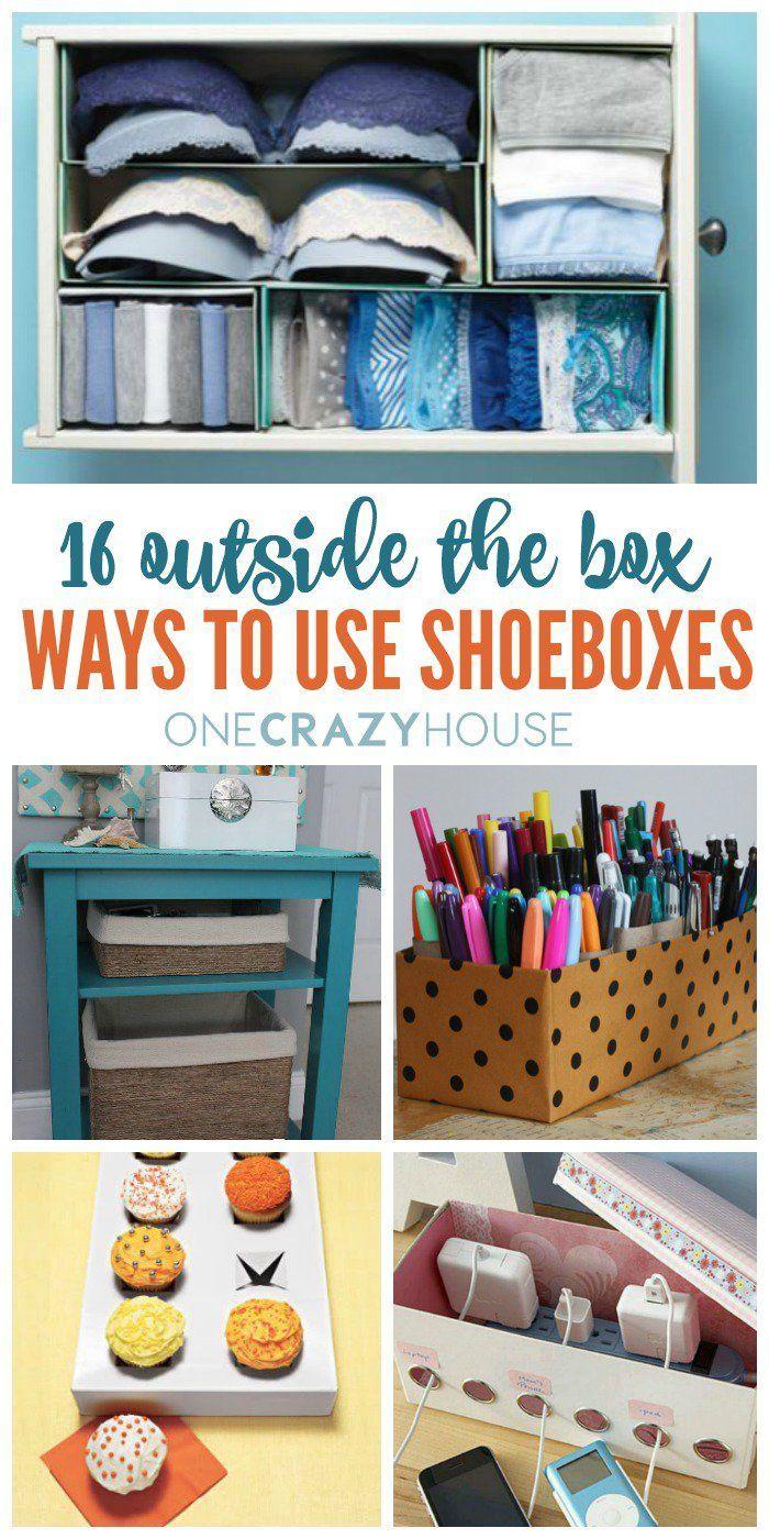 16 Outside The Box Ways To Use Shoeboxes Diy Storage Diy Organization Shoe Box Diy
