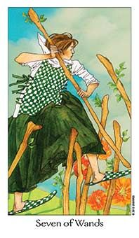 April 12 Tarot Card: Seven of Wands (Dreaming Way deck) Stand your ground now. You could feel that others are challenging your position ~ hold your head high and don't budge