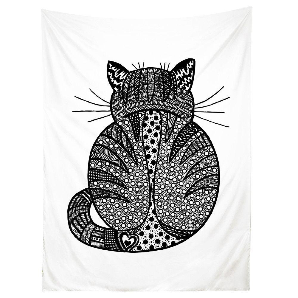 Sharp shirter rear view kitty cat illustration tapestry x