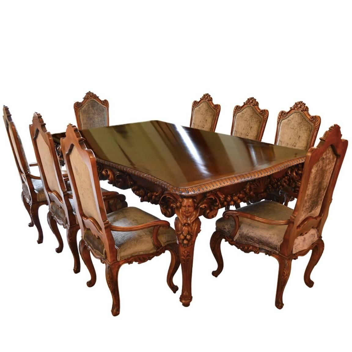 Antique Italian Dining Room Set With Table, Chairs, Buffet, Consoles,  Credenza