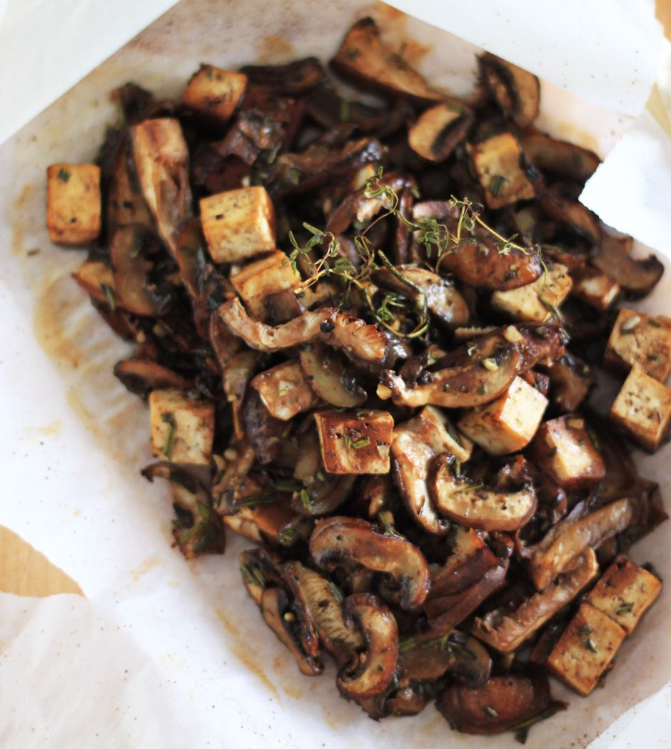 mushrooms and tofu cooked in parchment with miso and rosemary