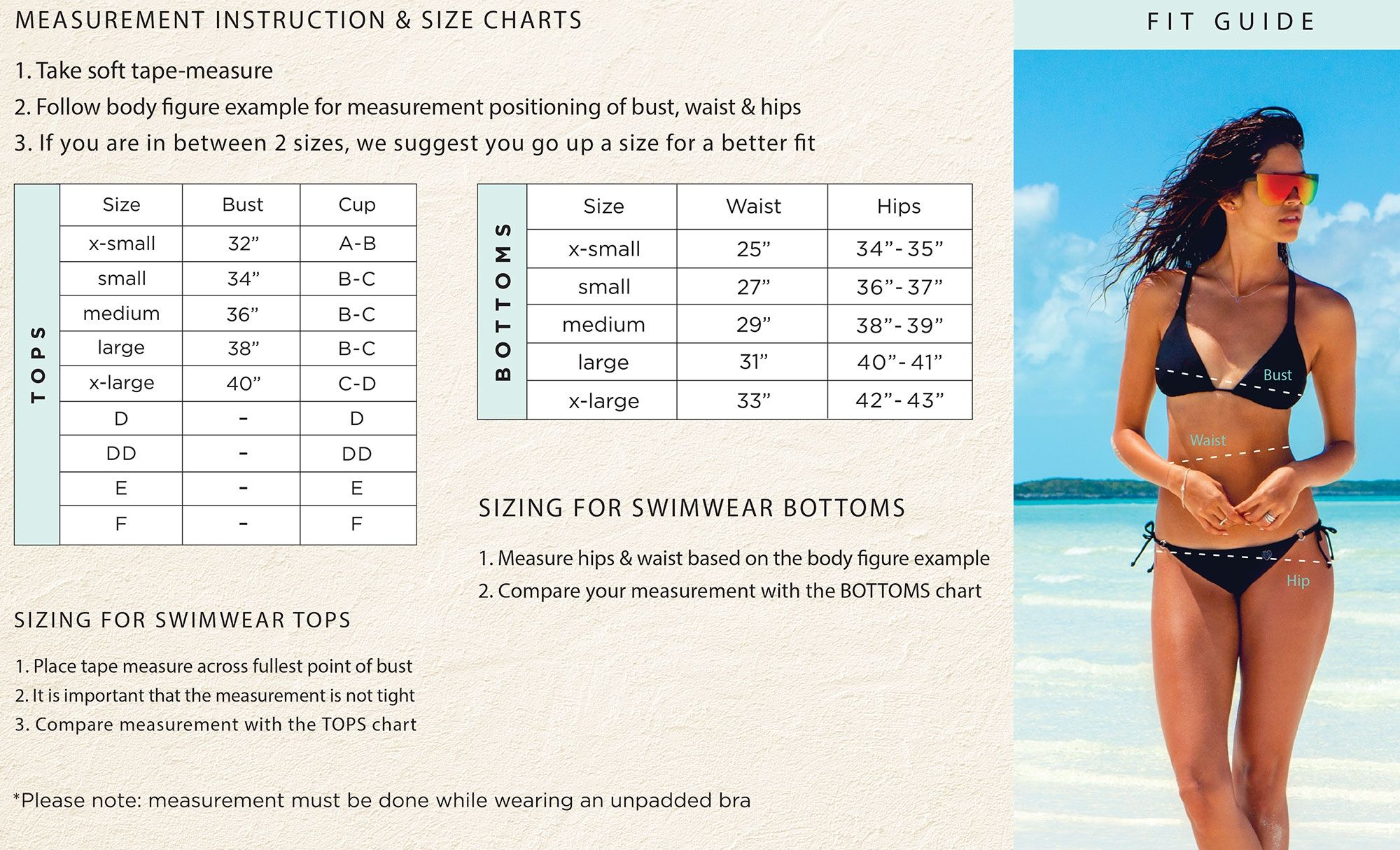 The Swimwear Sizechart Has Additional Specifications To Help Customers Understand Exact Size