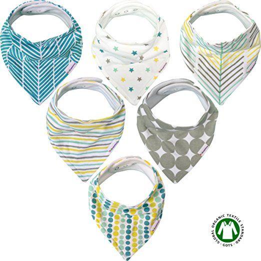 Baby Bandana Drool Bibs for Boys /& Girls Unisex 6-Pack Gift Set 100/% Organic