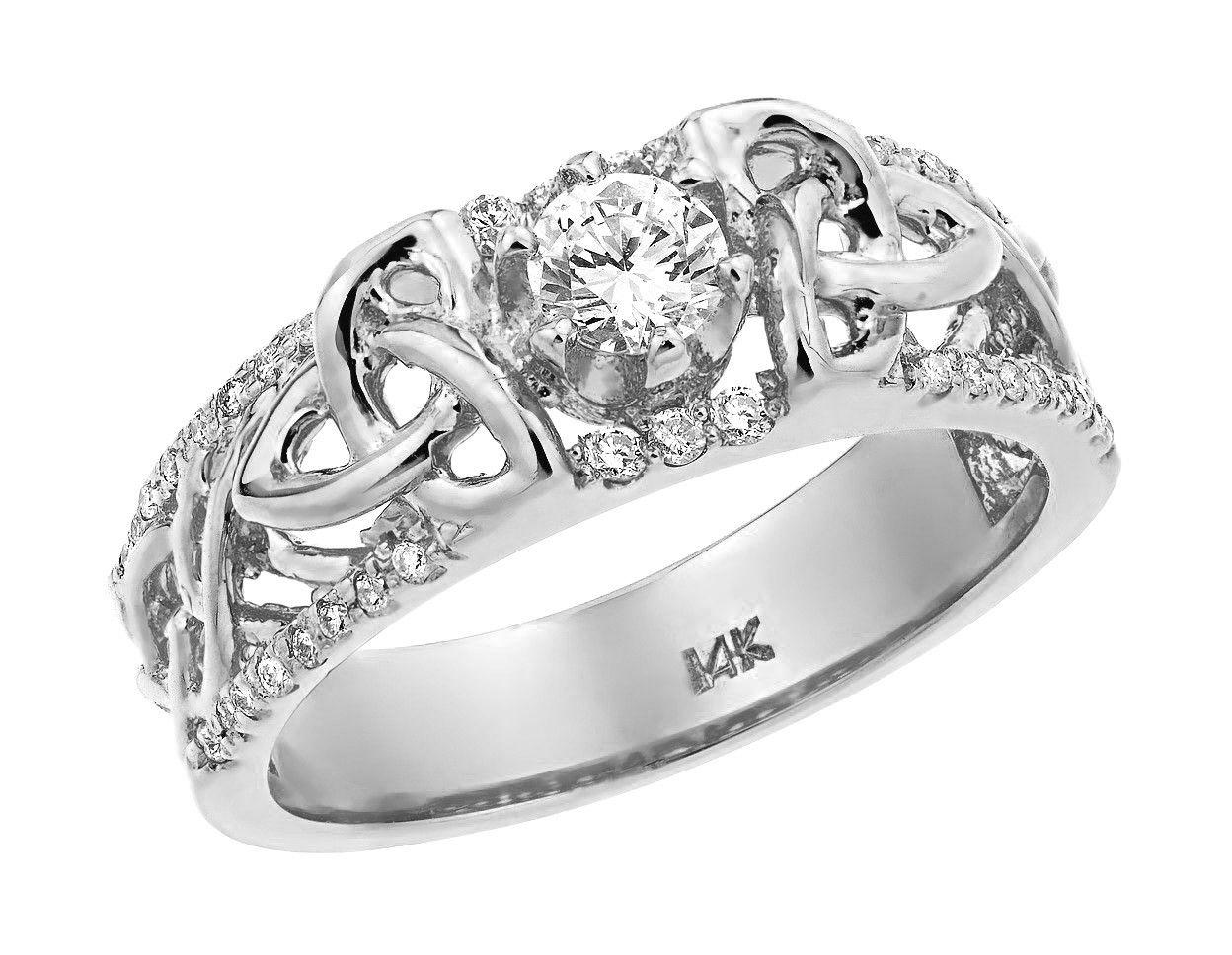 white gold celtic trinity elegance diamond wedding ring - Irish Wedding Rings