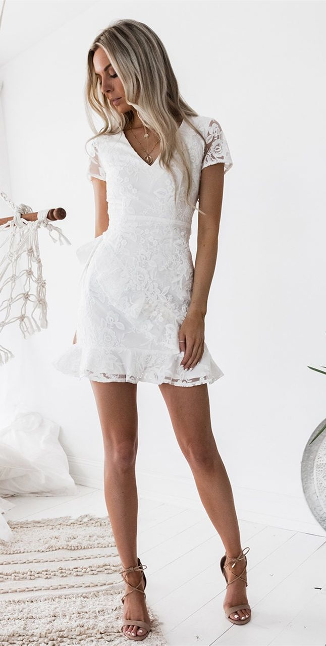 Sheath vneck short sleeves short white lace homecoming cocktail