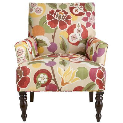 Liliana Armchair Bold Floral Red Armchair Chair Upholstered
