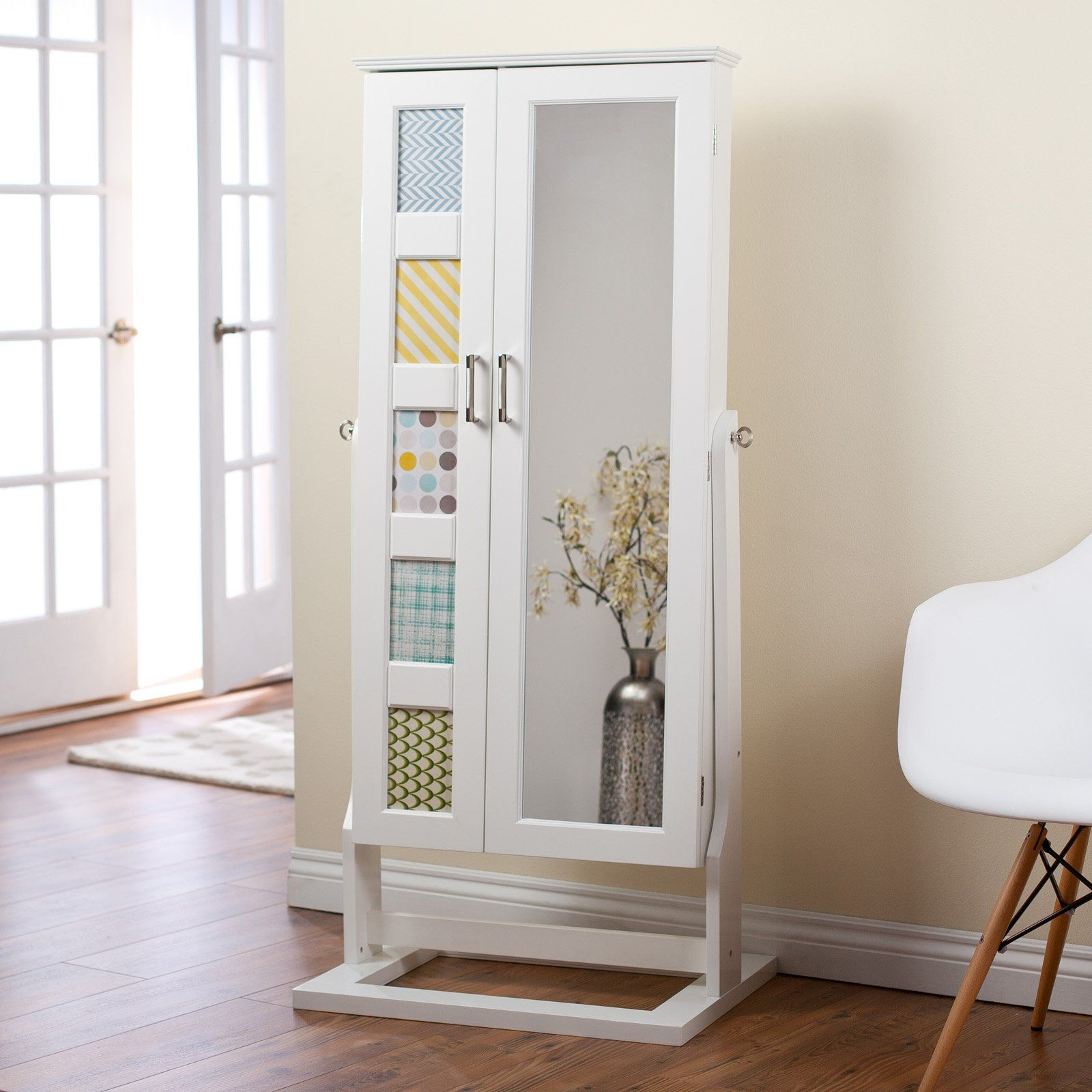 White Cheval Mirror Floor Standing Jewelry Armoire Cabinet