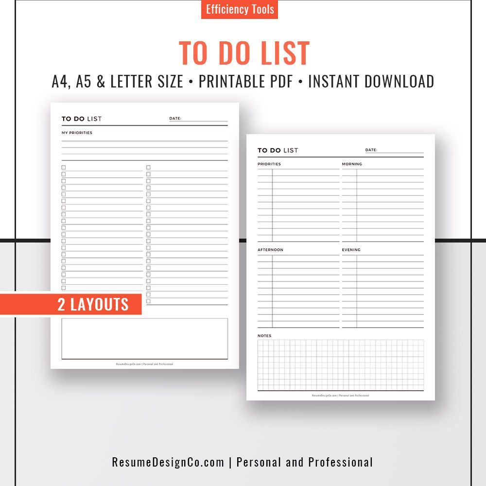 To Do List Planner Pages A4 A5 Letter Size Filofax A5