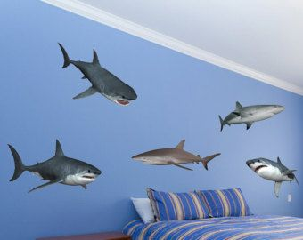Beautiful Sharks Wall Decal 10 Piece Vinyl Wall Decal Set By WallJems