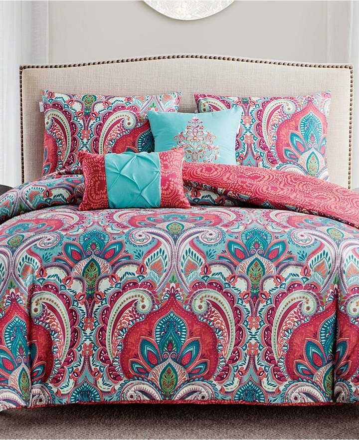 VCNY Home Casa Re`al Reversible 5-Pc. Full/Queen Duvet Cover Set & Reviews - Bed in a Bag - Bed & Bath - Macy's