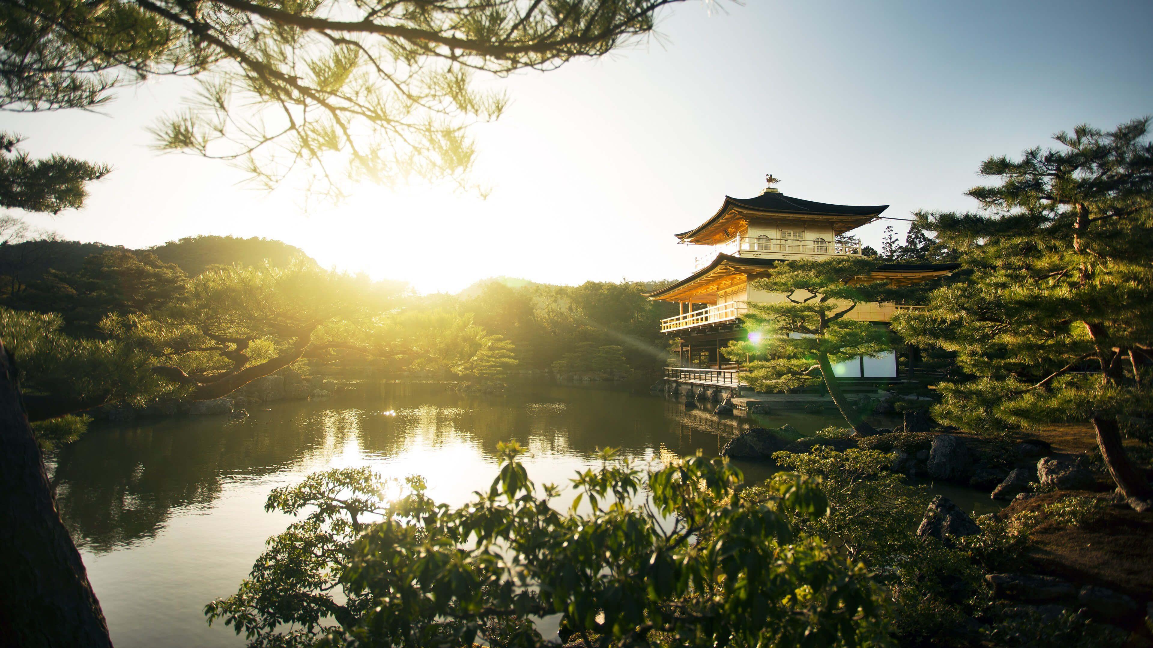 Temple Of The Golden Pavilion Kinkaku Ji Kyoto Japan 4k Uhd 3840 X 2160 See More On Classy Br World Wallpaper Asian Wallpaper Temple Of The Golden Pavilion