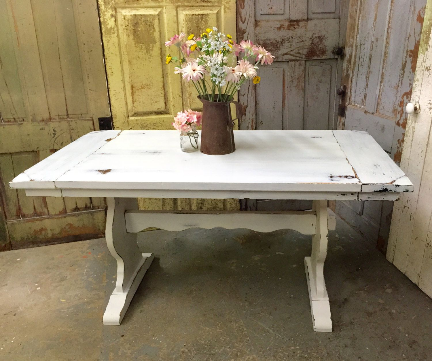 white kitchen table White Kitchen Table Rustic Dining Room Table Painted Furniture Beach Cottage Furniture