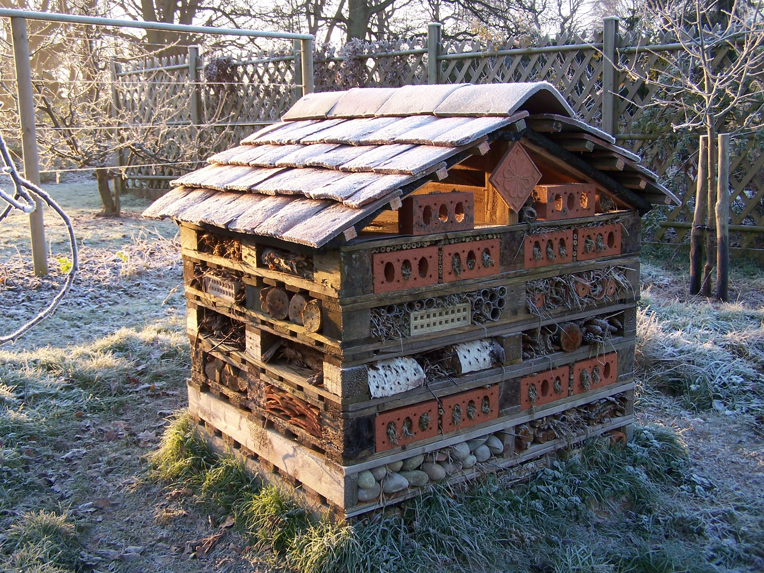 hotel insectes sur palettes en hiver wild bee hotels pinterest en hiver insectes et palette. Black Bedroom Furniture Sets. Home Design Ideas