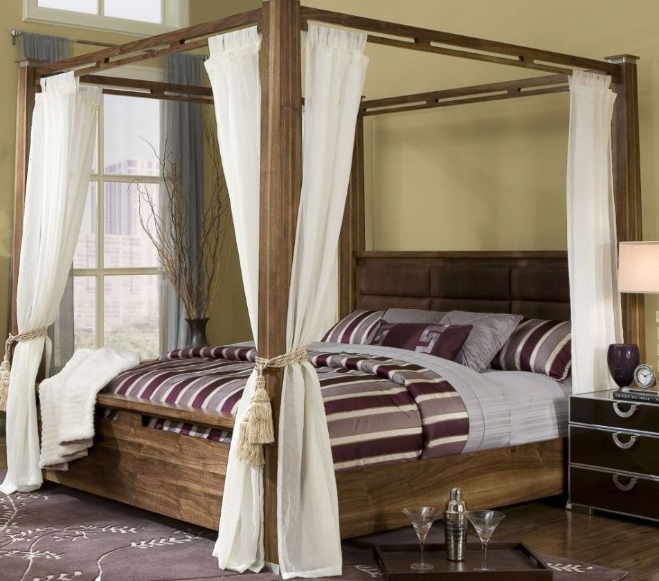 Bedroom Beautiful Elegant Design Bedroom With Modern Wood Canopy Bed With Headboard Plus Curtains An Canopy Bedroom King Size Canopy Bed Wooden Canopy Bed
