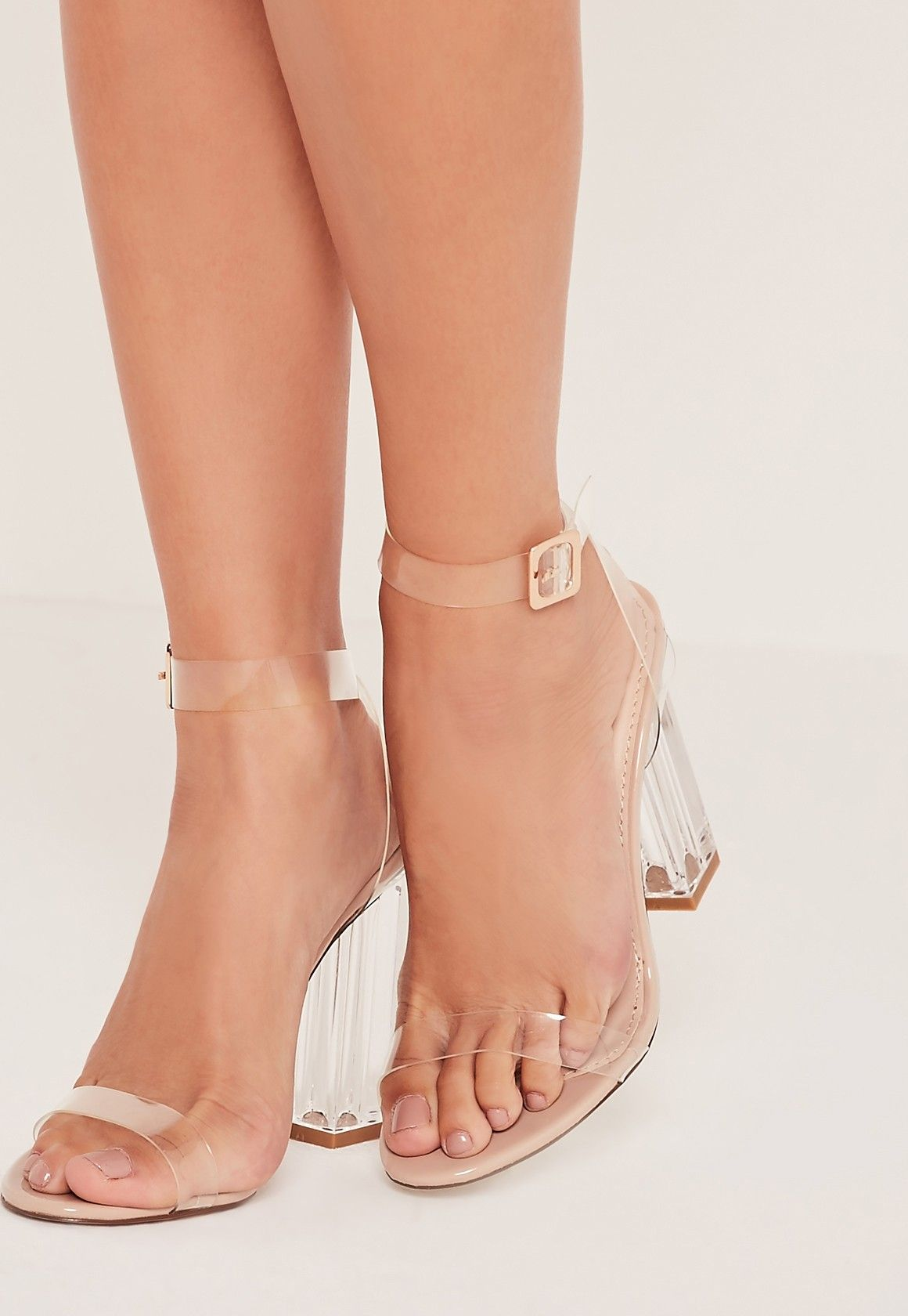 637eb7123fb Missguided - Perspex Block Heel Sandals Nude   Shoes in 2019   Shoes ...