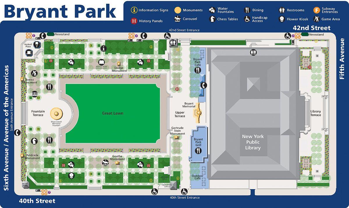Map of Bryant Park   manhattan new york • mappery | landscape