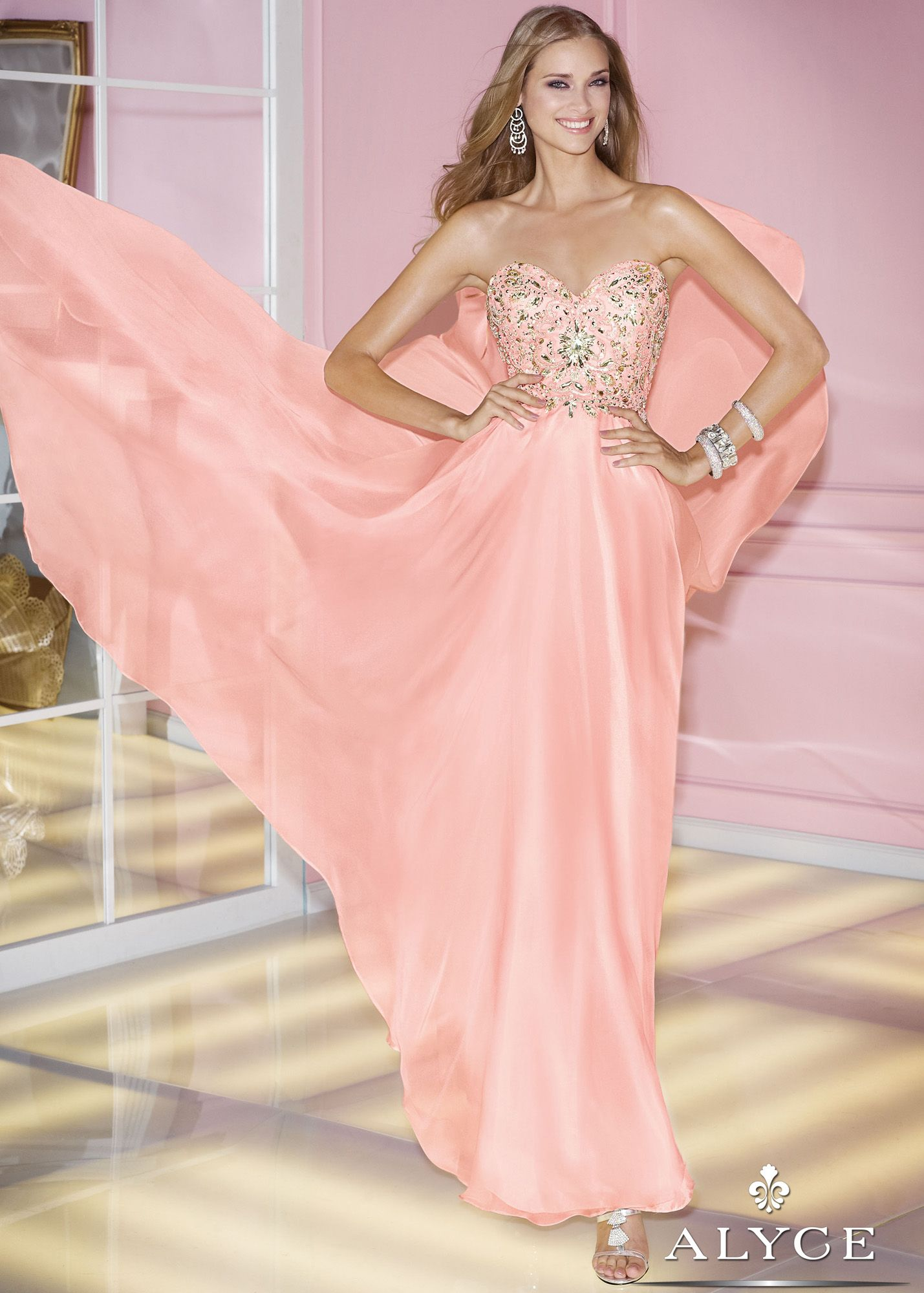Alyce Prom 6227 - Blush Pink Strapless Sweetheart Beaded Prom ...