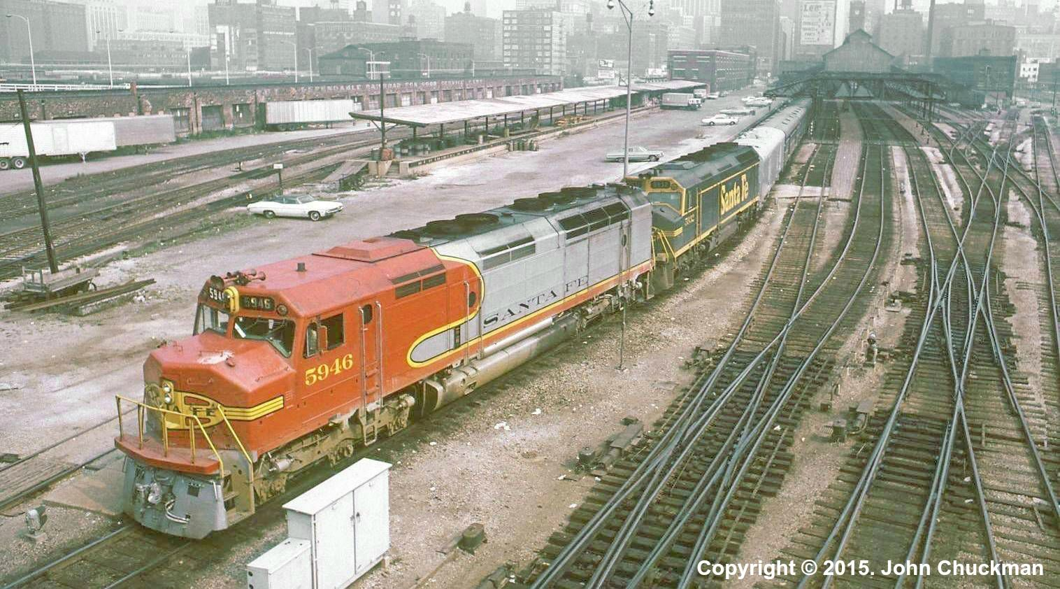 ATSF #5946 (EMD FP45) is shown leaving Dearborn Station with a passenger train in 1970. Photo by John Chuckman.