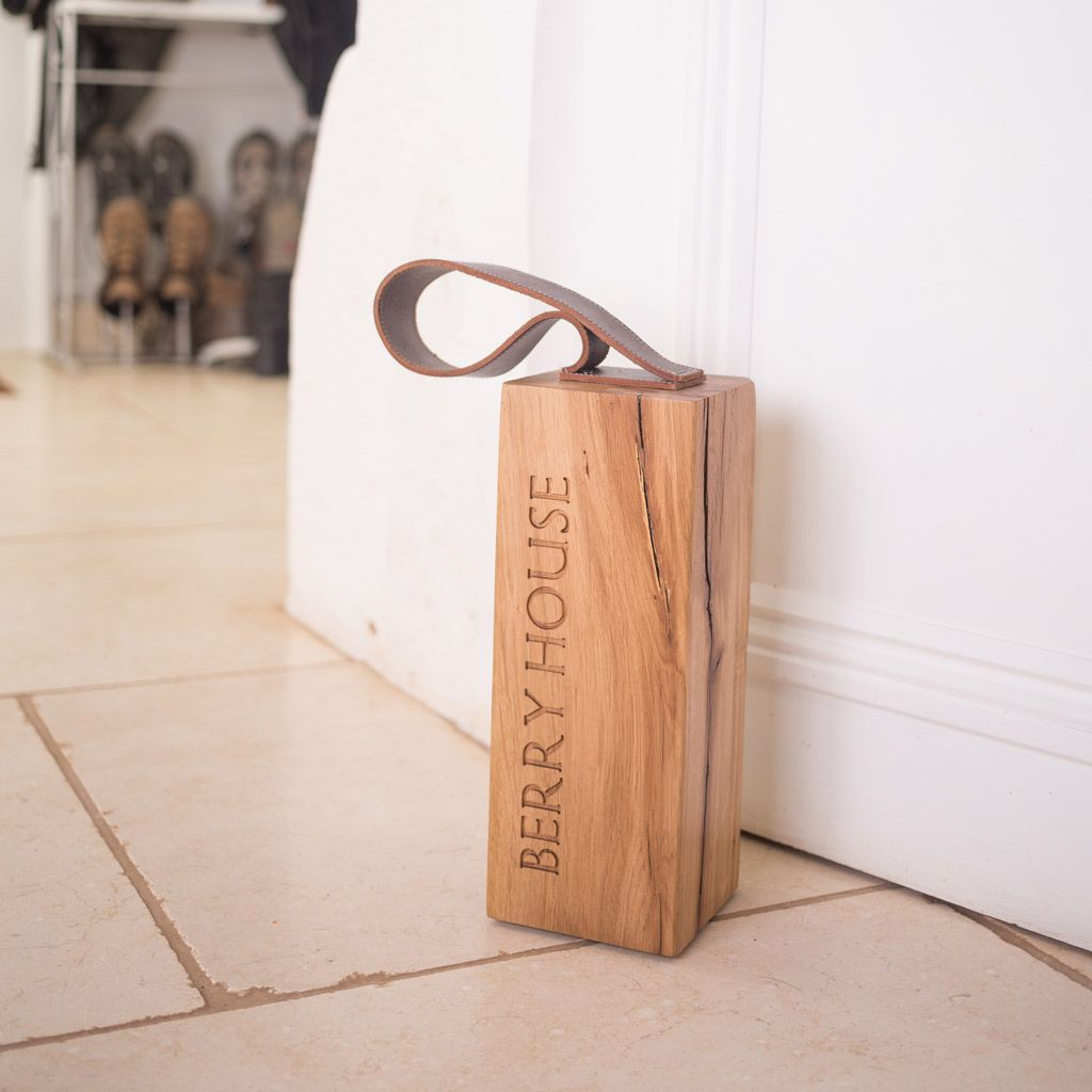 Door Stops Oak With Leather Peck Chisel Door Stopper Diy Door Stops Wooden Door Stops