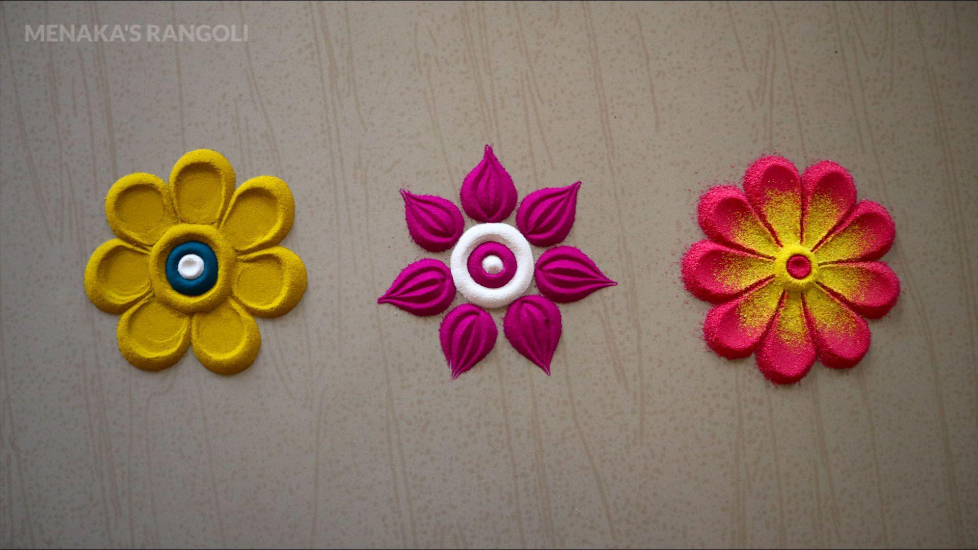 Pin by Bhavya Asokan on Rangoli Flower rangoli, Easy