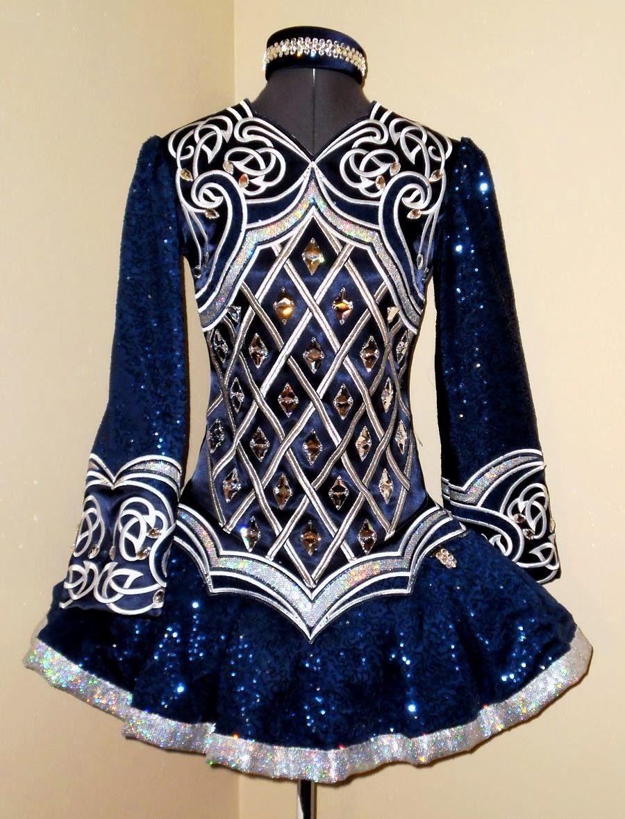 Blue Silver Irish Dance Solo Dress by Kirations