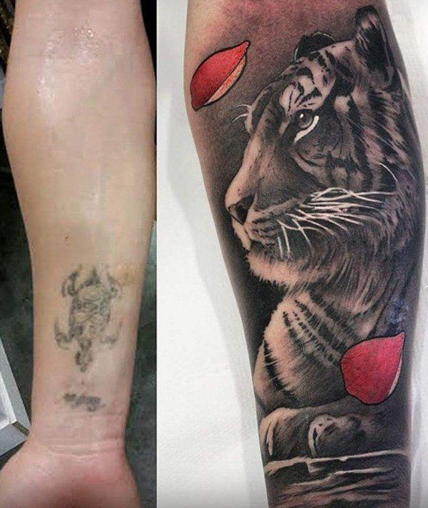 55 incredible cover up tattoos before and after tigers tattoo and tiger tattoo. Black Bedroom Furniture Sets. Home Design Ideas