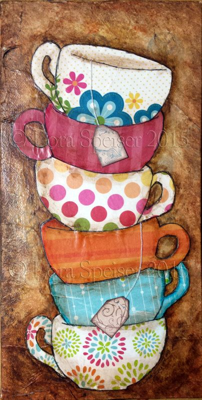 Tea Cups Stack Teacup Original Textured Painting Mixed Media Oil Acrylic Pastel Pigments Painting 6×12 inches Inspirational