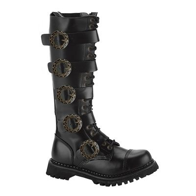 Demonia STEAM-20 Mens Black Leather Gothic Steampunk Boots - Demonia Shoes