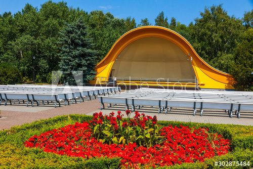 Public Concert Shell on the Swinoujscie promenade, Poland. Swinoujscie is a city and seaport on the Baltic Sea and Szczecin Lagoon, located in the extreme north-west of Poland , #ad, #Poland, #promenade, #seaport, #city, #Concert #Ad